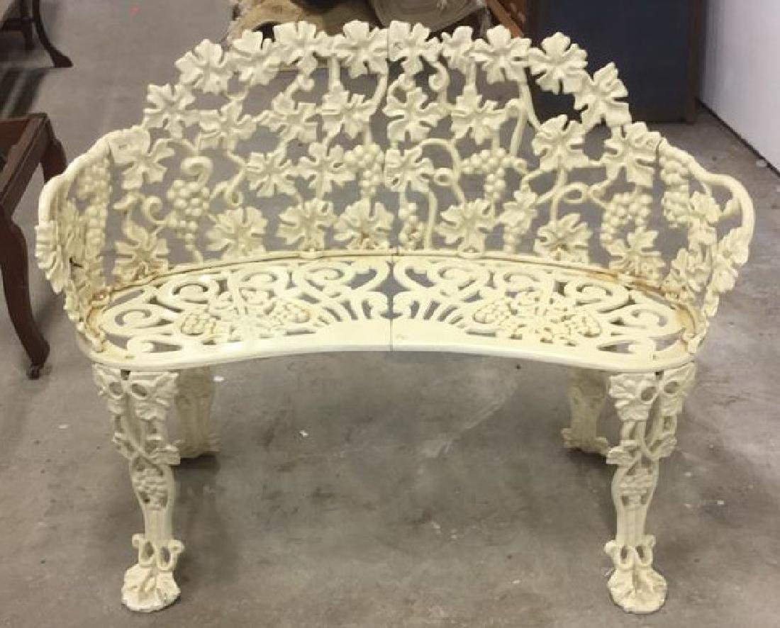 Antique White Metal Iron Ornate Garden Bench