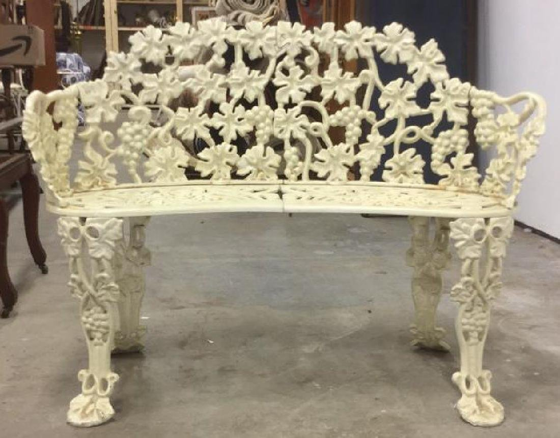 Antique White Metal Iron Ornate Garden Bench - 2