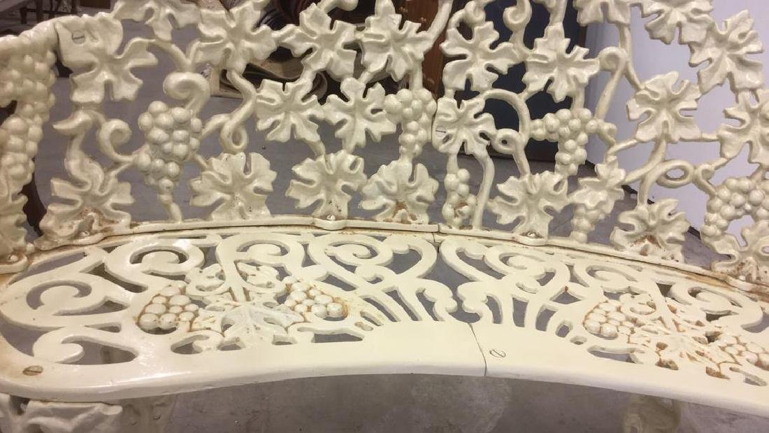 Antique White Metal Iron Ornate Garden Bench - 4