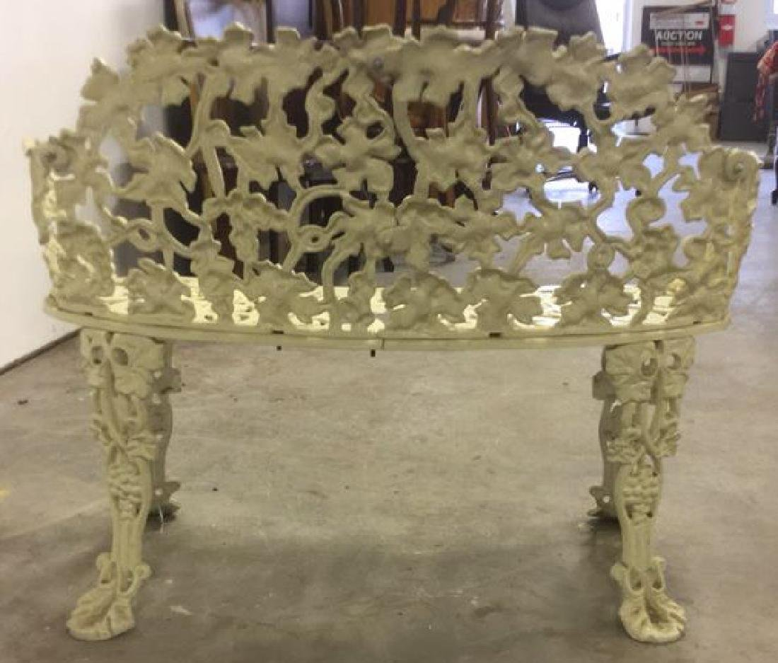 Antique White Metal Iron Ornate Garden Bench - 6