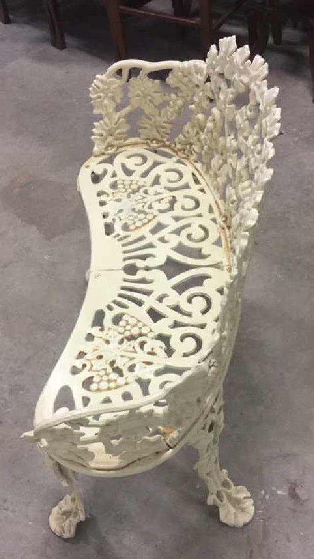 Antique White Metal Iron Ornate Garden Bench - 8
