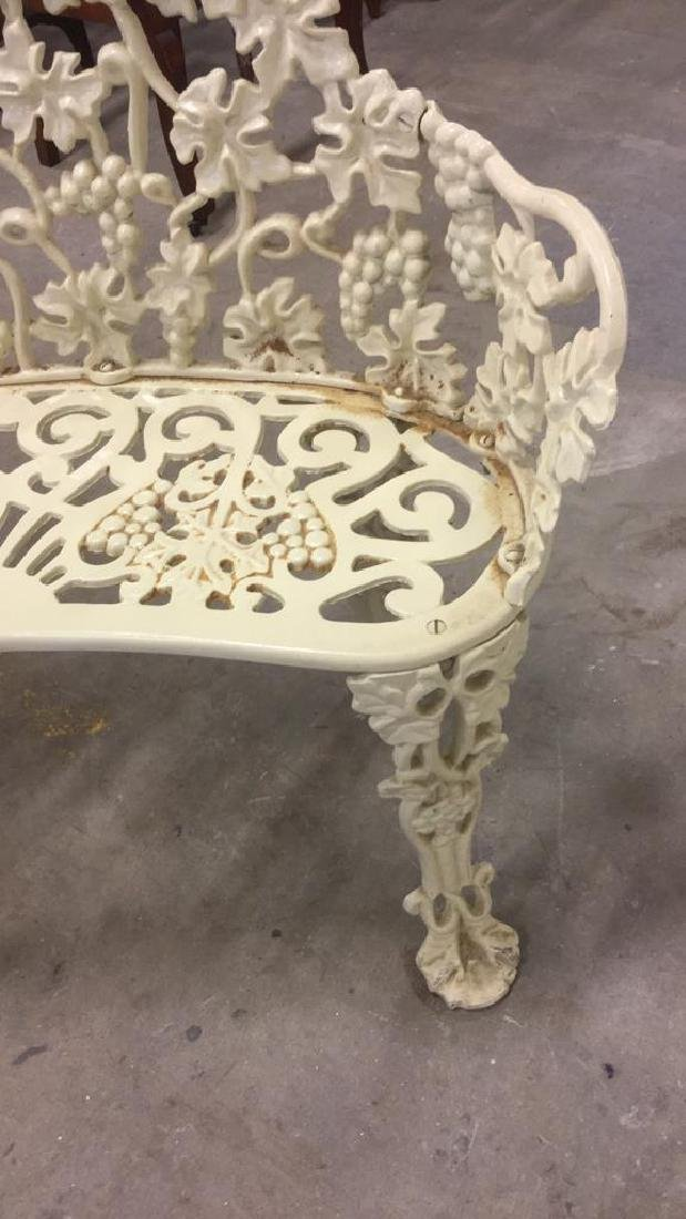 Antique White Metal Iron Ornate Garden Bench - 9