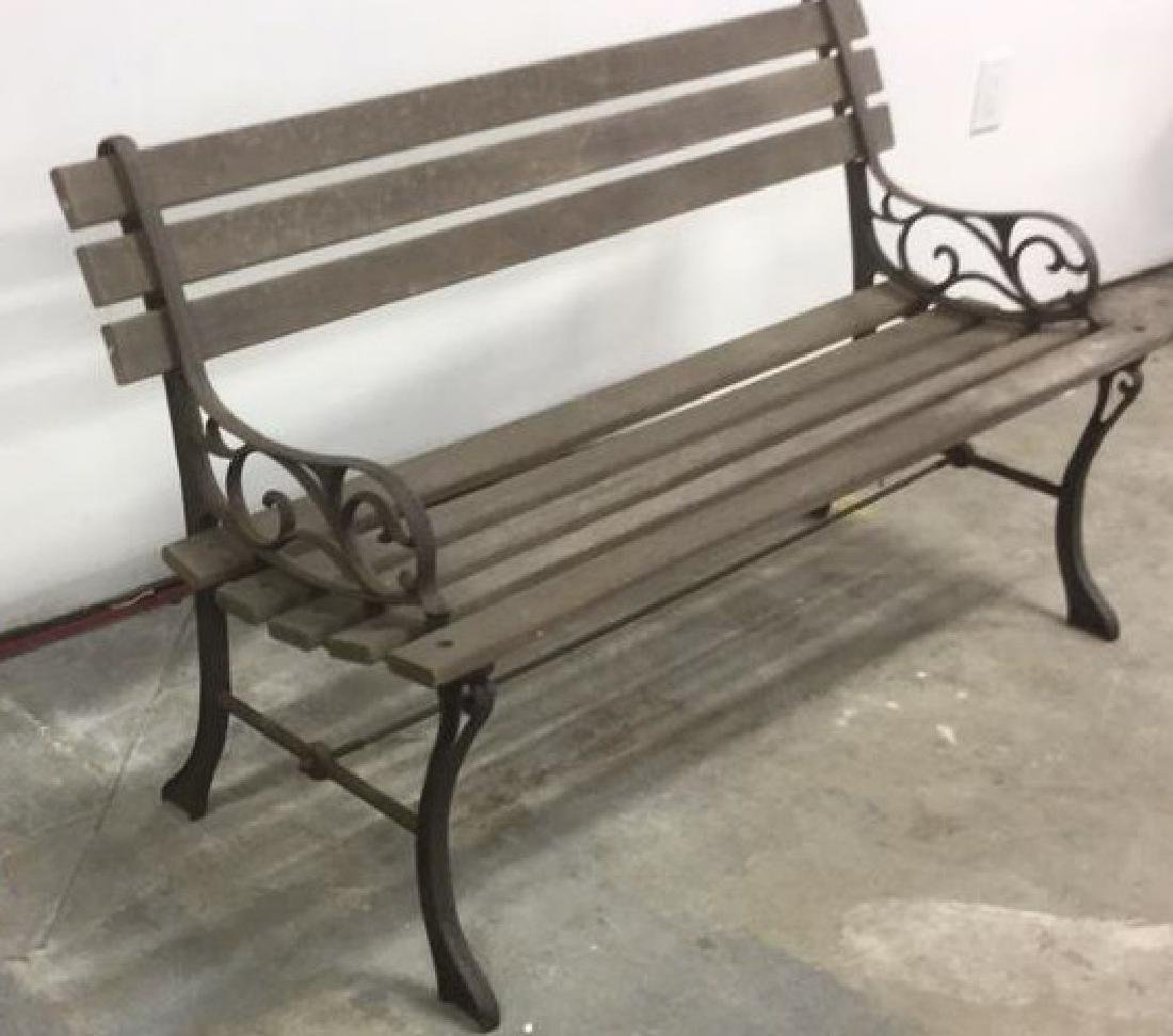 Vintage Wood Iron Central Park Style Bench
