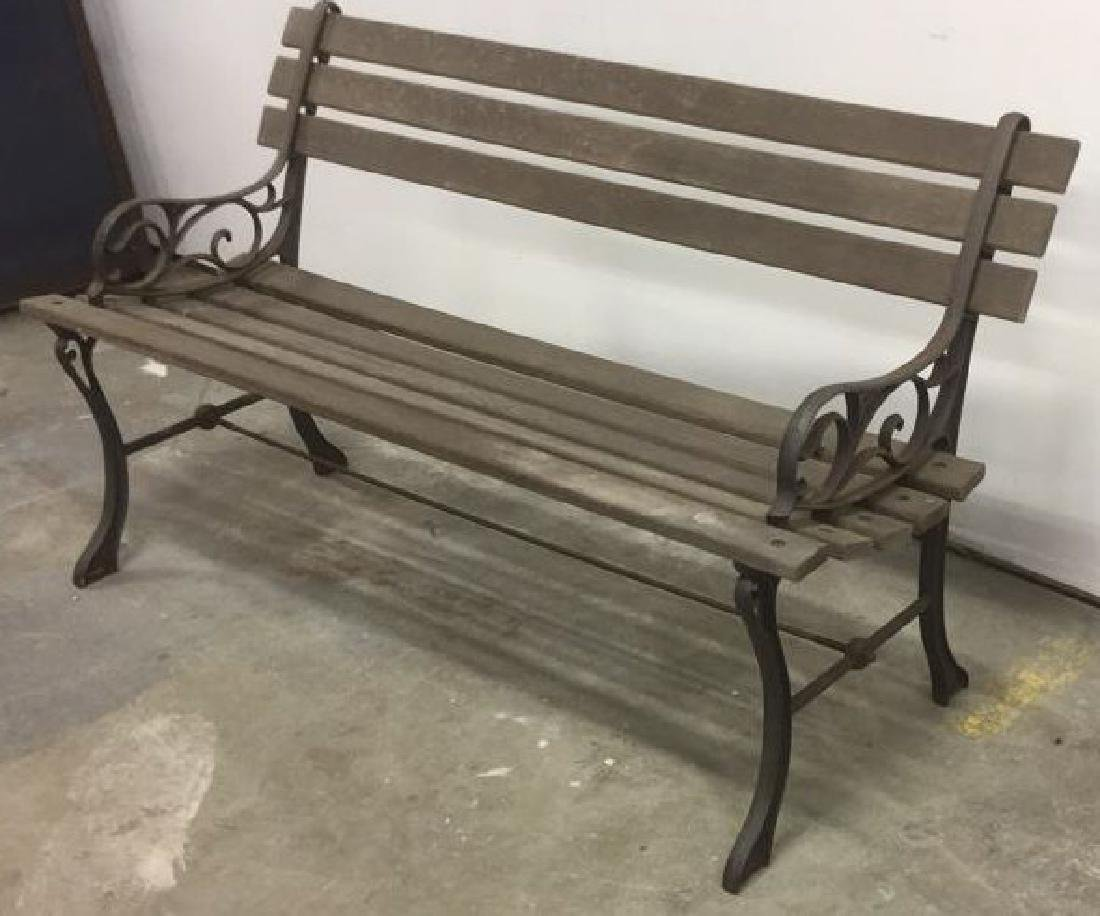 Vintage Wood Iron Central Park Style Bench - 2
