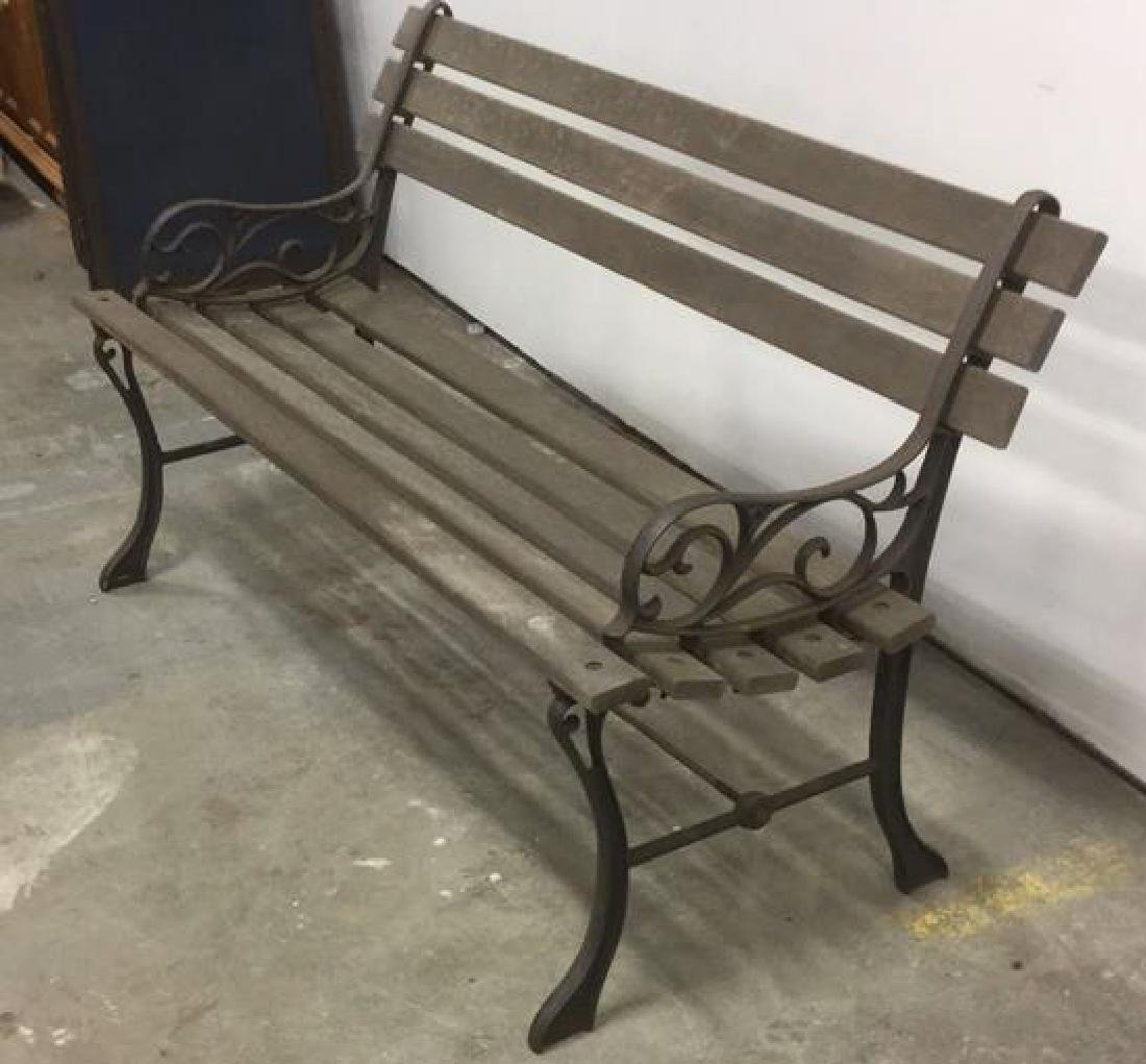 Vintage Wood Iron Central Park Style Bench - 3