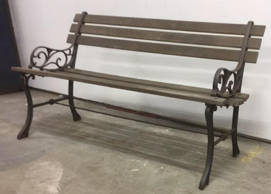 Vintage Wood Iron Central Park Style Bench - 4