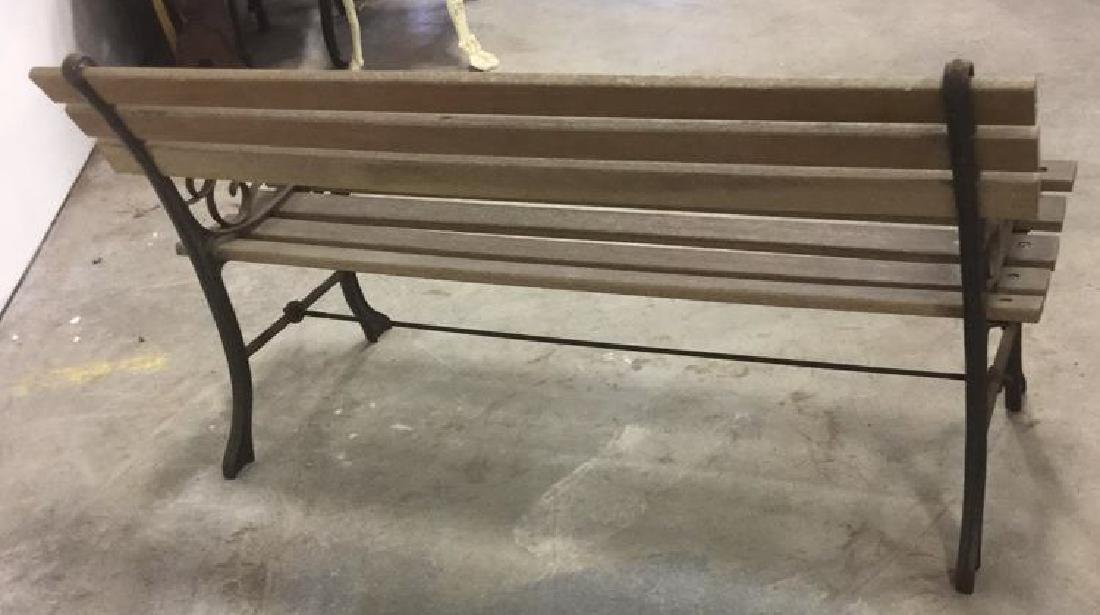 Vintage Wood Iron Central Park Style Bench - 7