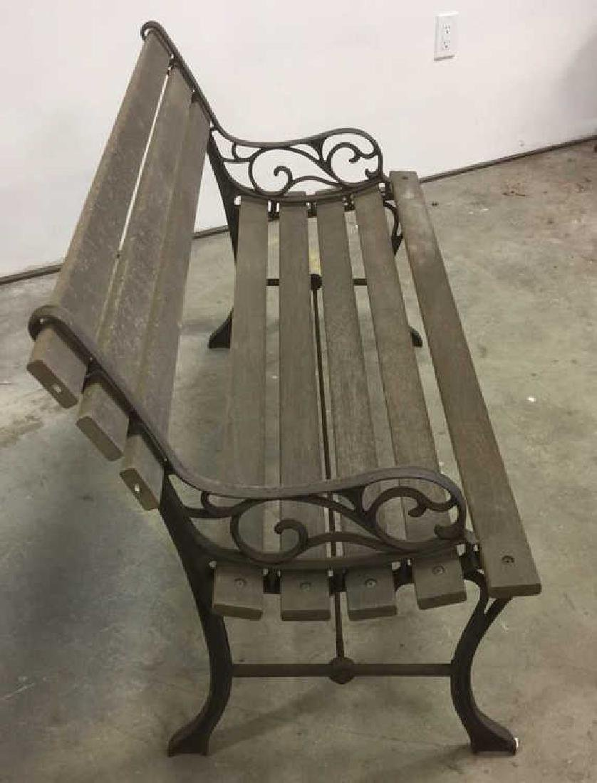 Vintage Wood Iron Central Park Style Bench - 8
