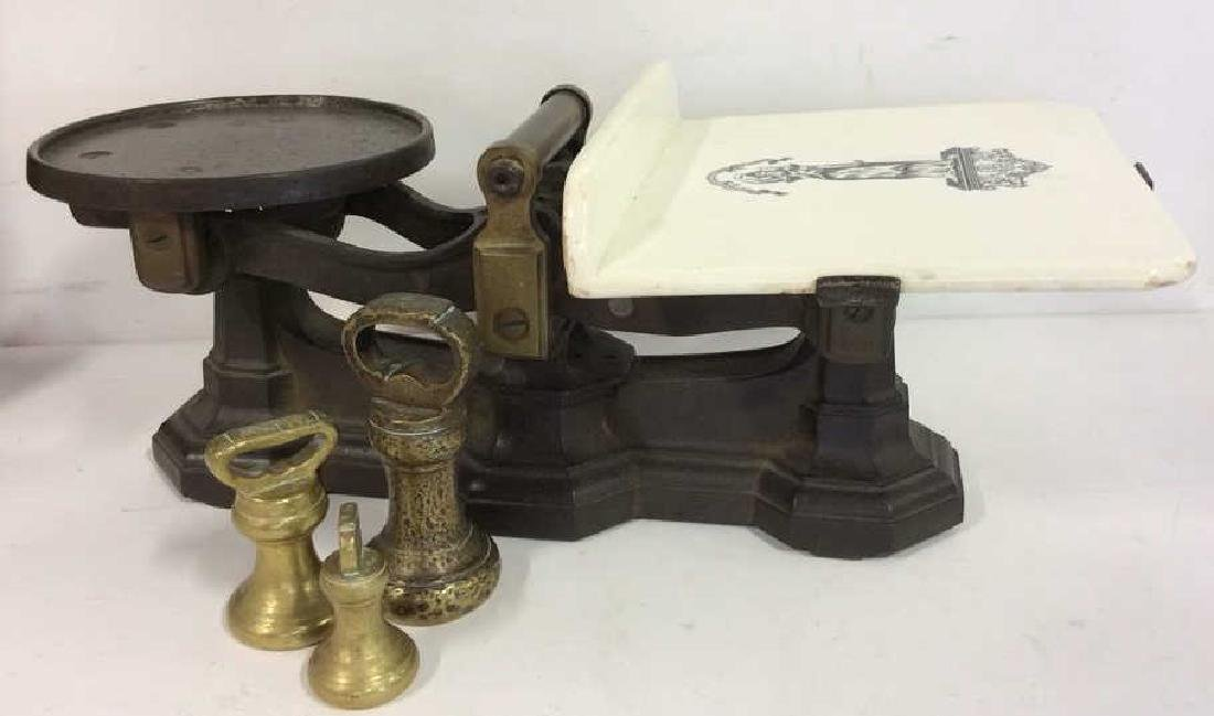 Antique Balance Scale W Bell Weights