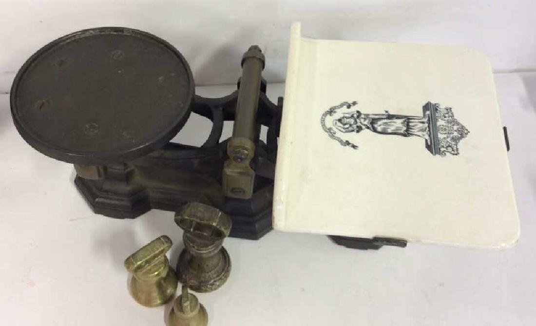 Antique Balance Scale W Bell Weights - 2