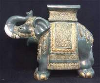 Stone Ware Sculpted Elephant Figural Plant Stand