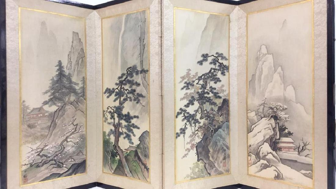 Asian Style Painted Fabric Sectioned Screen