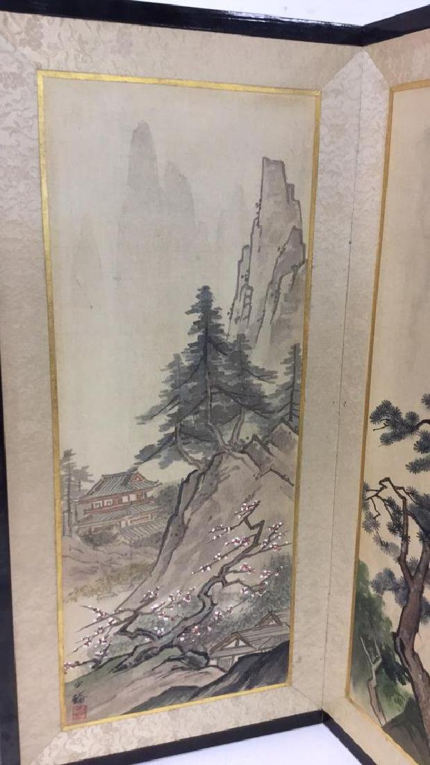 Asian Style Painted Fabric Sectioned Screen - 2