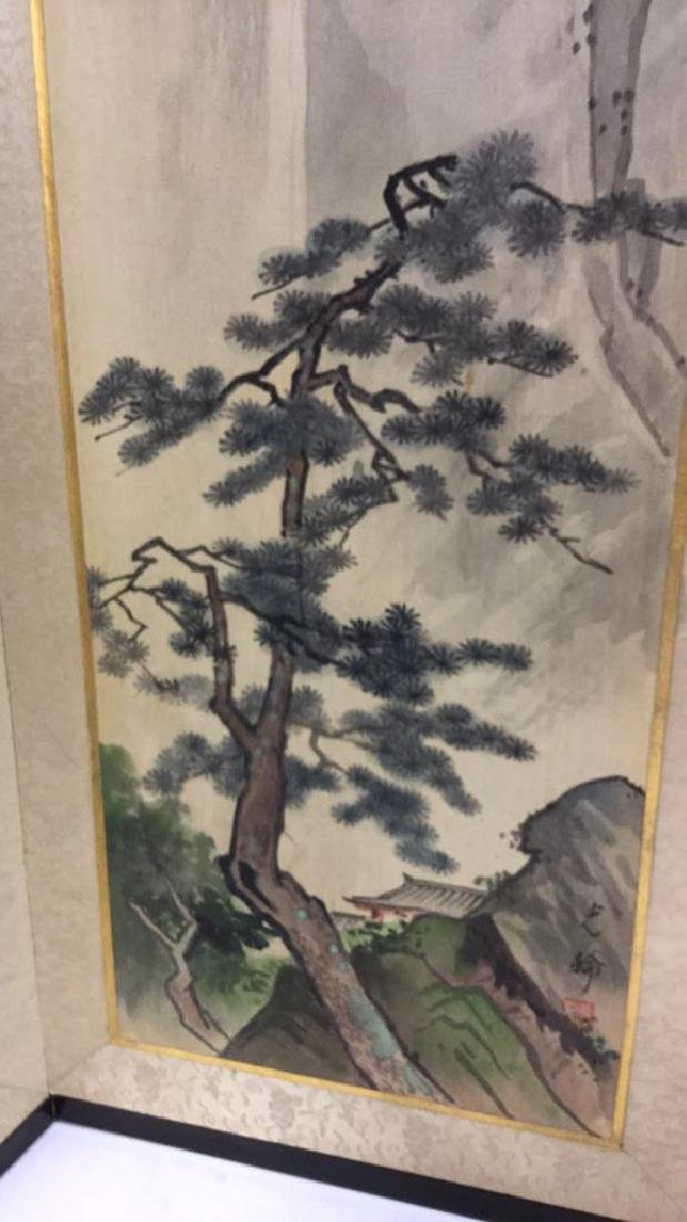 Asian Style Painted Fabric Sectioned Screen - 3