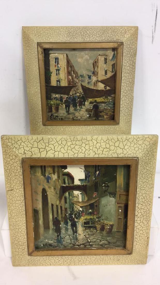 Pair Framed Painted Italian Tiles