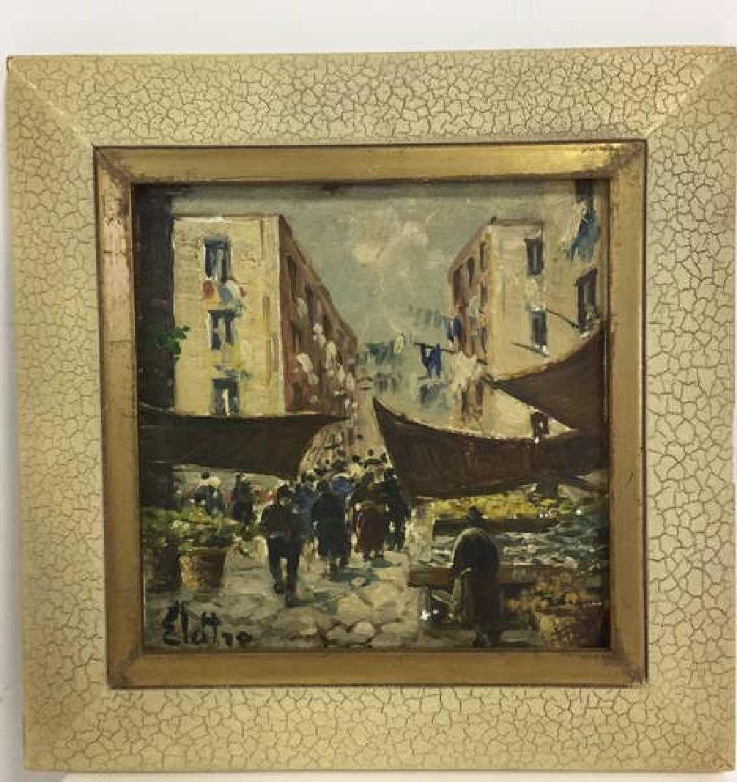 Pair Framed Painted Italian Tiles - 2