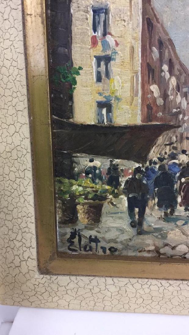 Pair Framed Painted Italian Tiles - 4