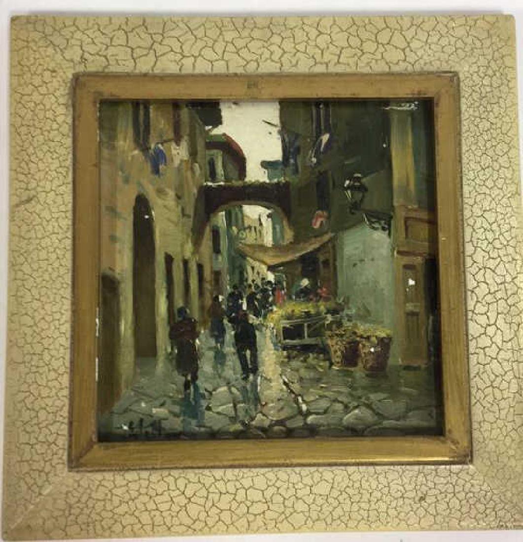Pair Framed Painted Italian Tiles - 5