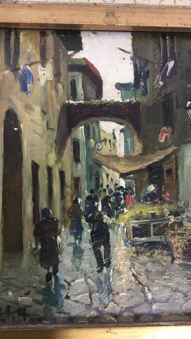 Pair Framed Painted Italian Tiles - 6