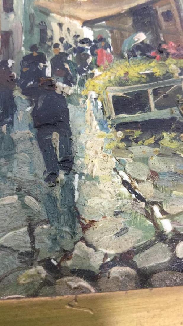Pair Framed Painted Italian Tiles - 7