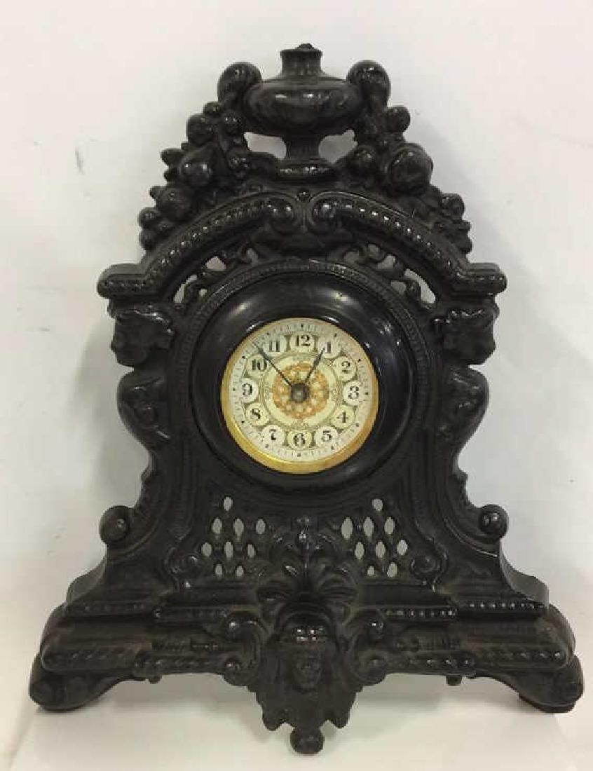 Vintage Cast Iron Standing Mantle Clock