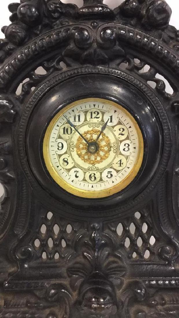 Vintage Cast Iron Standing Mantle Clock - 3
