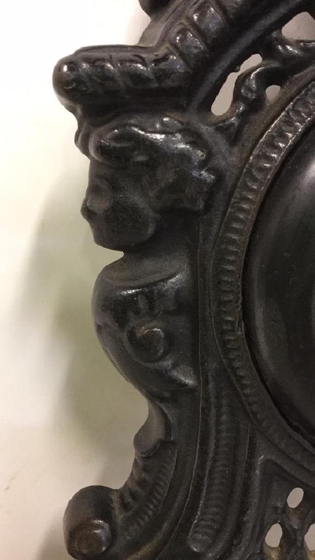 Vintage Cast Iron Standing Mantle Clock - 4