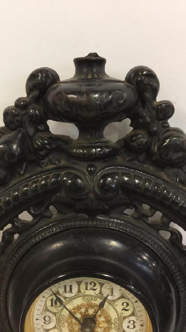 Vintage Cast Iron Standing Mantle Clock - 6