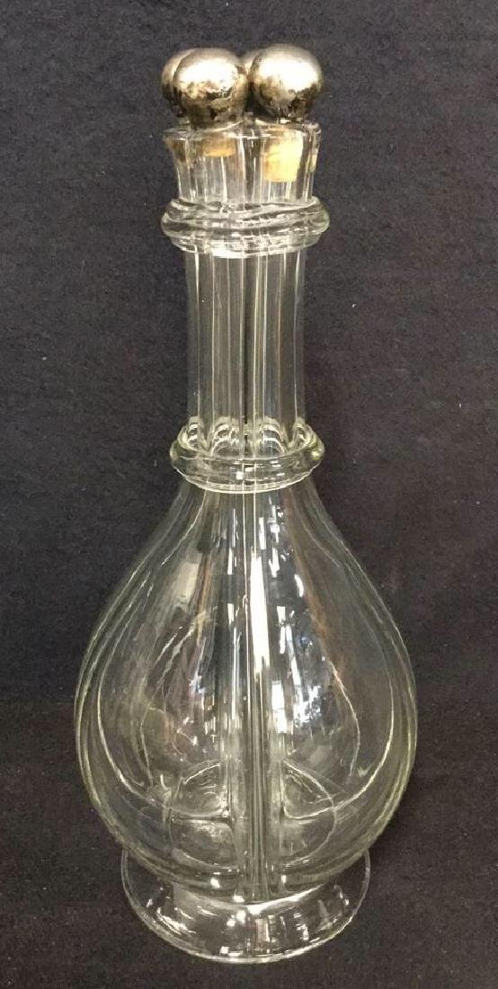 Vintage Sterling And Glass Four Camber Decanter