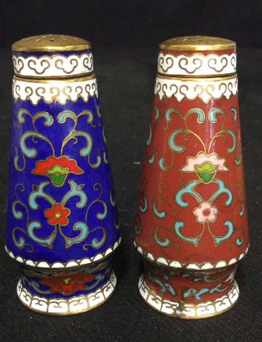 Pair Of Cloisonne Salt And Pepper Shakers