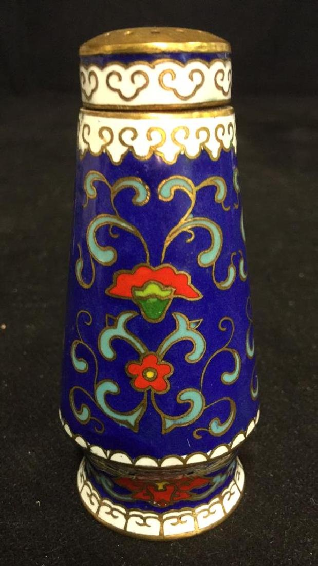 Pair Of Cloisonne Salt And Pepper Shakers - 3