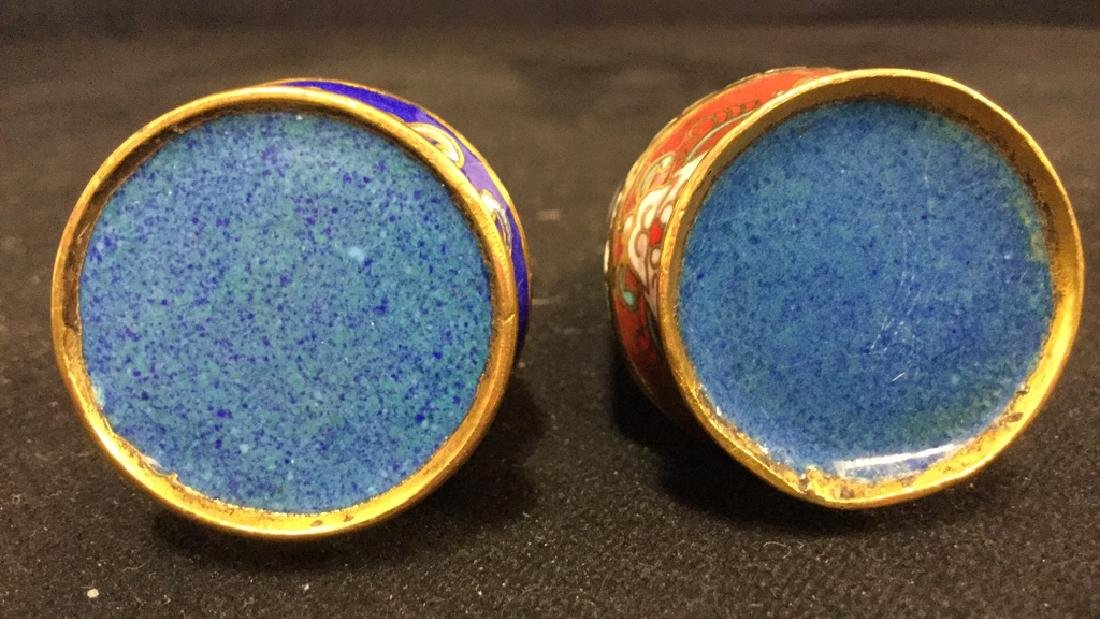 Pair Of Cloisonne Salt And Pepper Shakers - 5