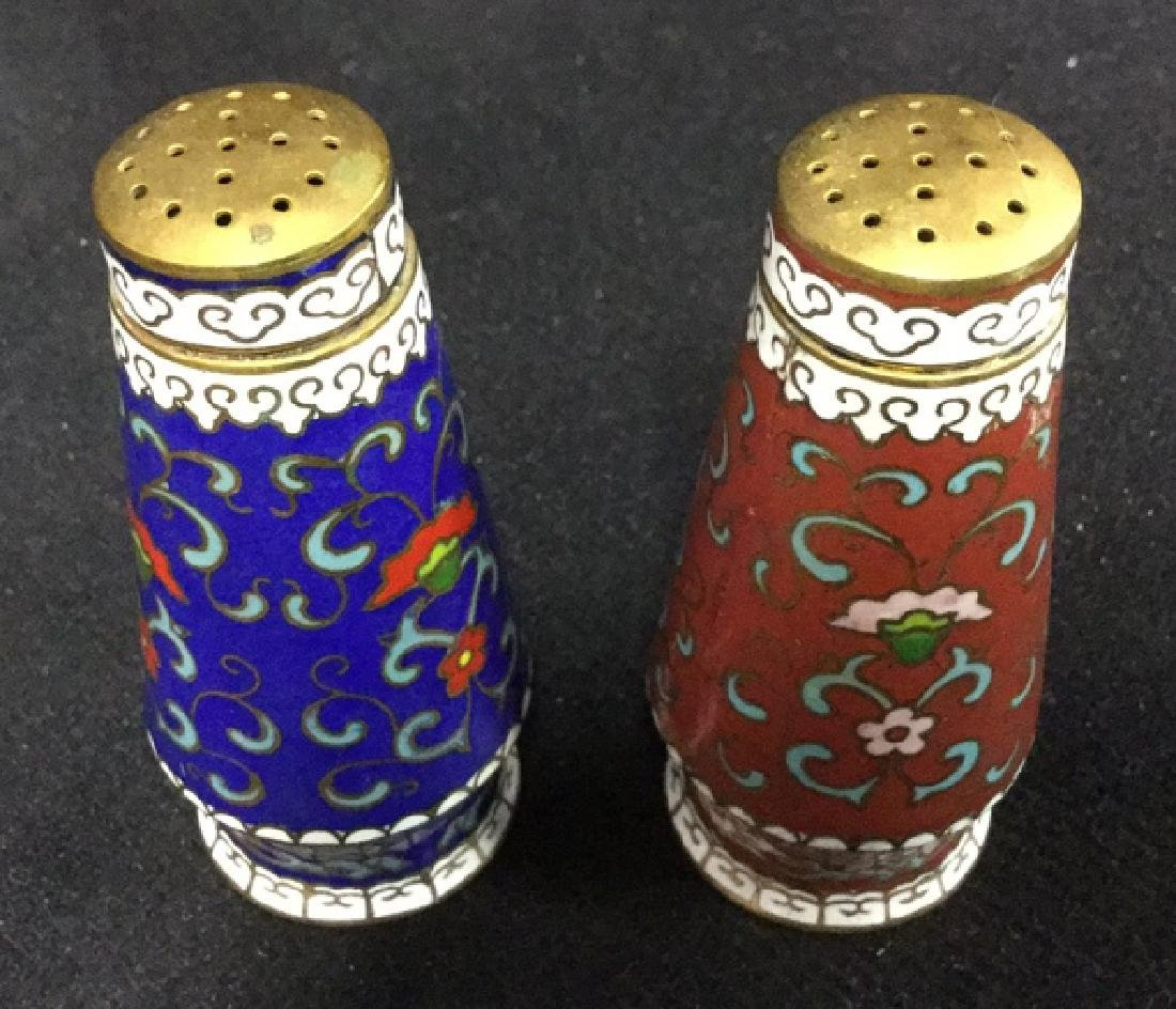 Pair Of Cloisonne Salt And Pepper Shakers - 7