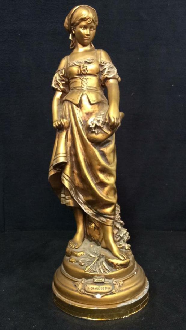 Vintage A LA GRACE DE DIEU Gold Toned Lamp Base