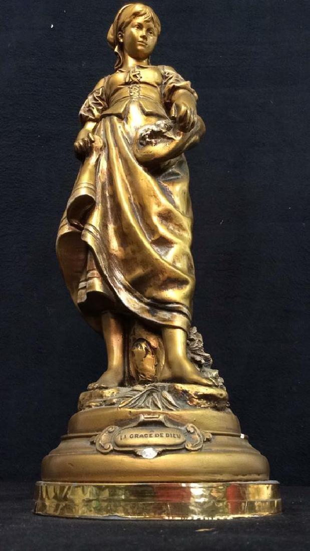 Vintage A LA GRACE DE DIEU Gold Toned Lamp Base - 2