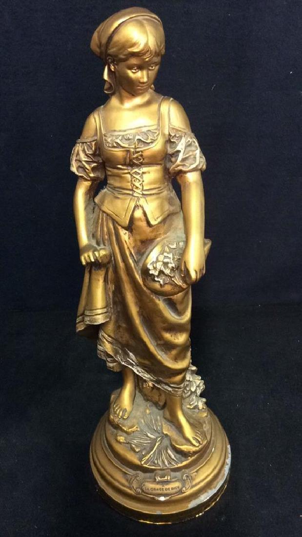 Vintage A LA GRACE DE DIEU Gold Toned Lamp Base - 3