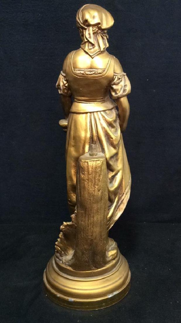 Vintage A LA GRACE DE DIEU Gold Toned Lamp Base - 8