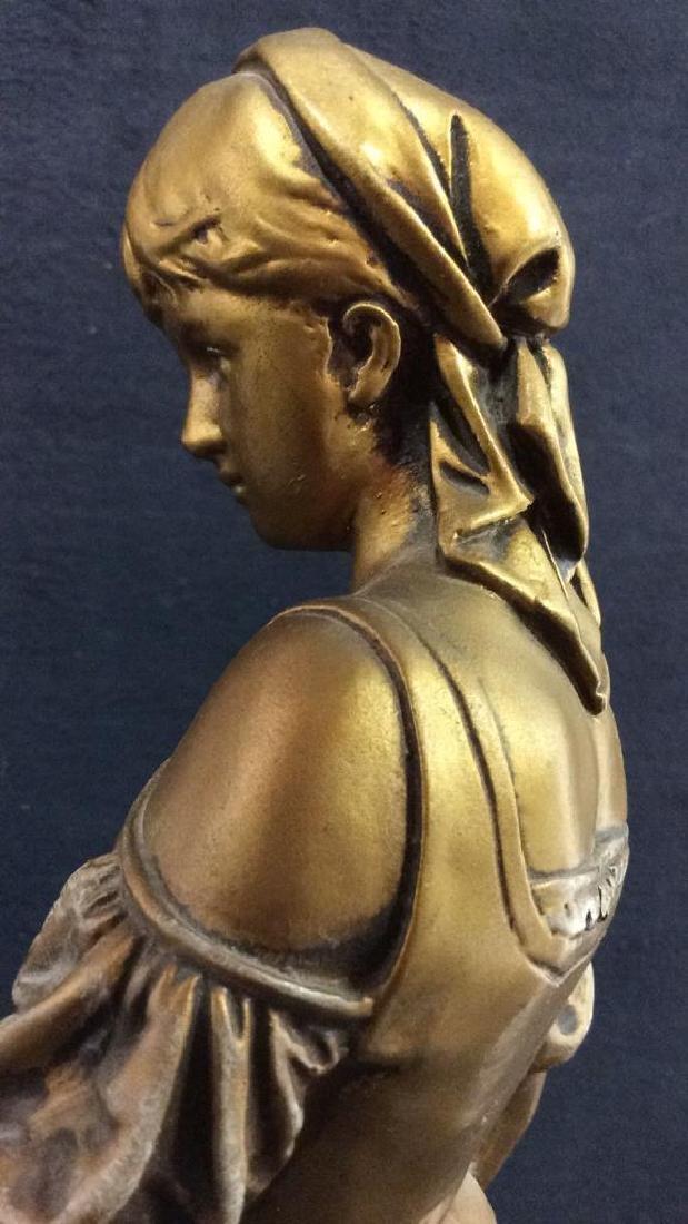Vintage A LA GRACE DE DIEU Gold Toned Lamp Base - 9