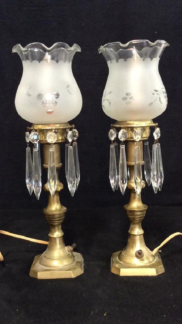 Vintage Mantle Lustres Electric Lamps