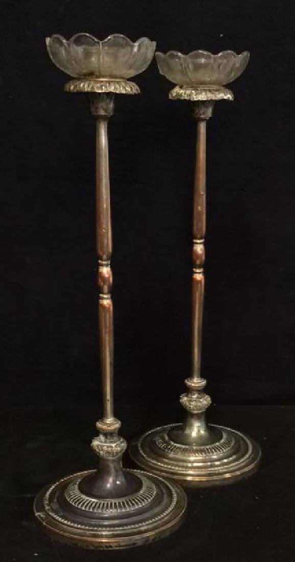 Pair Silver Plate On Copper Metal Candlesticks