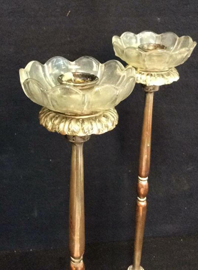Pair Silver Plate On Copper Metal Candlesticks - 3