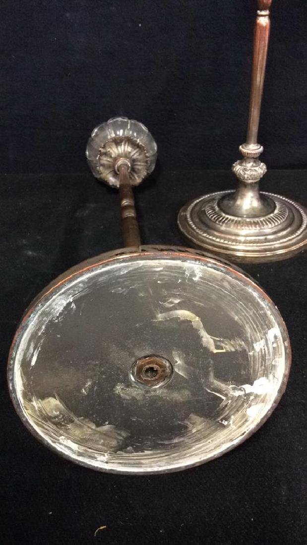 Pair Silver Plate On Copper Metal Candlesticks - 5