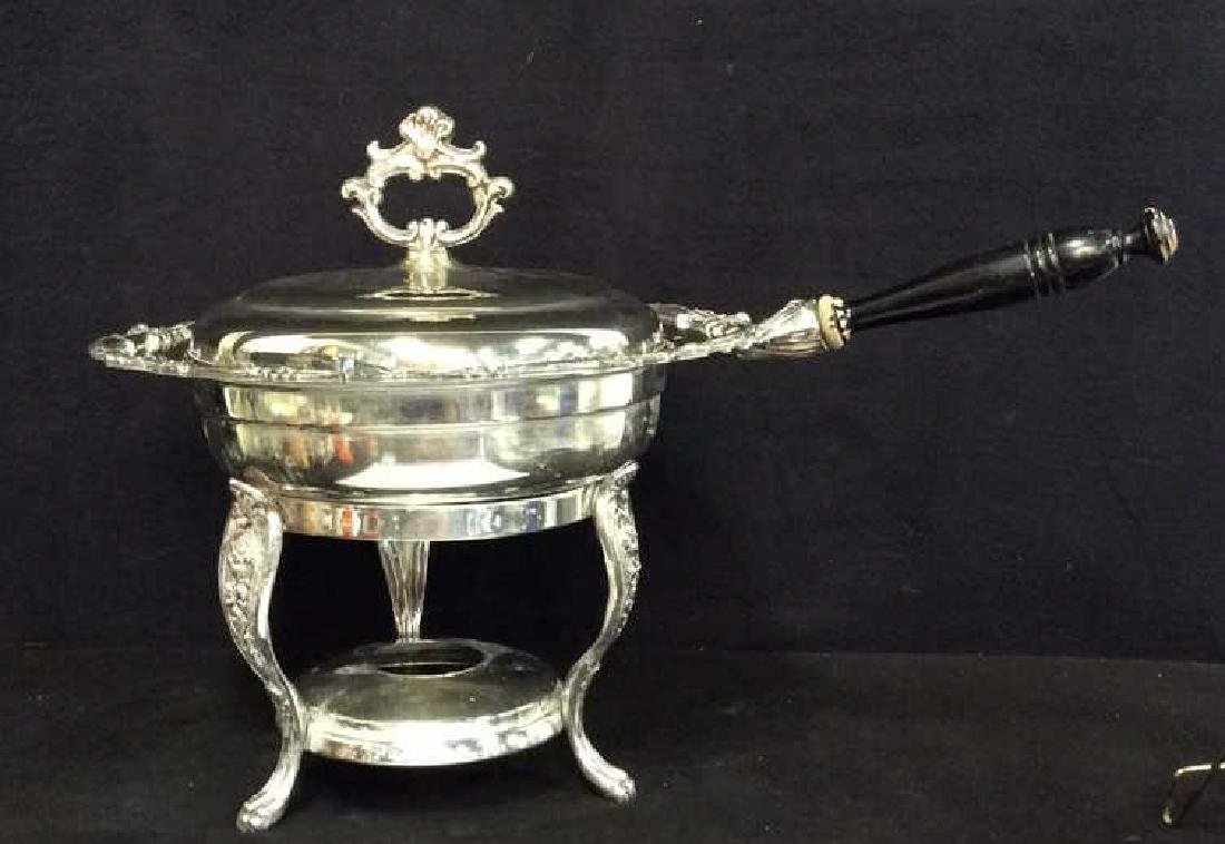Antique Silver plate Chafing Dish W Stand