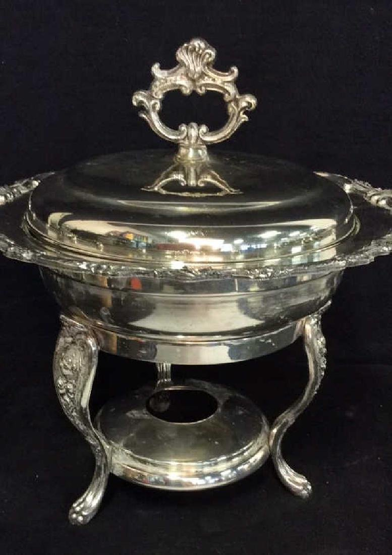 Antique Silver plate Chafing Dish W Stand - 2