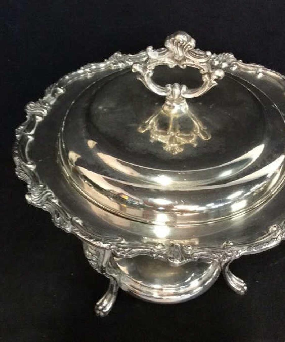 Antique Silver plate Chafing Dish W Stand - 3