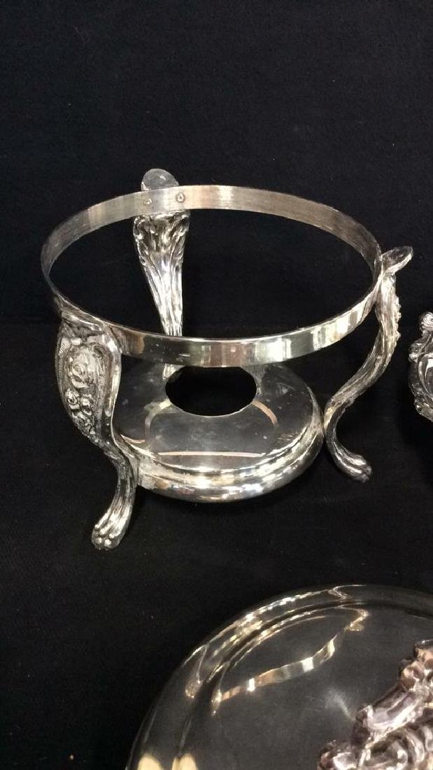 Antique Silver plate Chafing Dish W Stand - 7