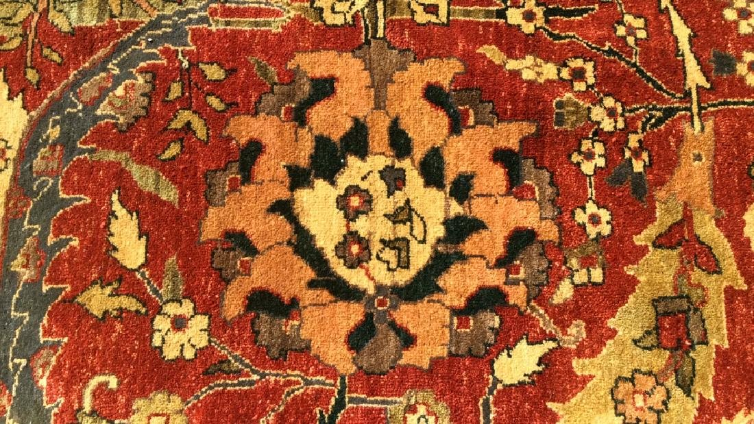 Multi Toned Floral Motif Detailed Wool Rug - 2