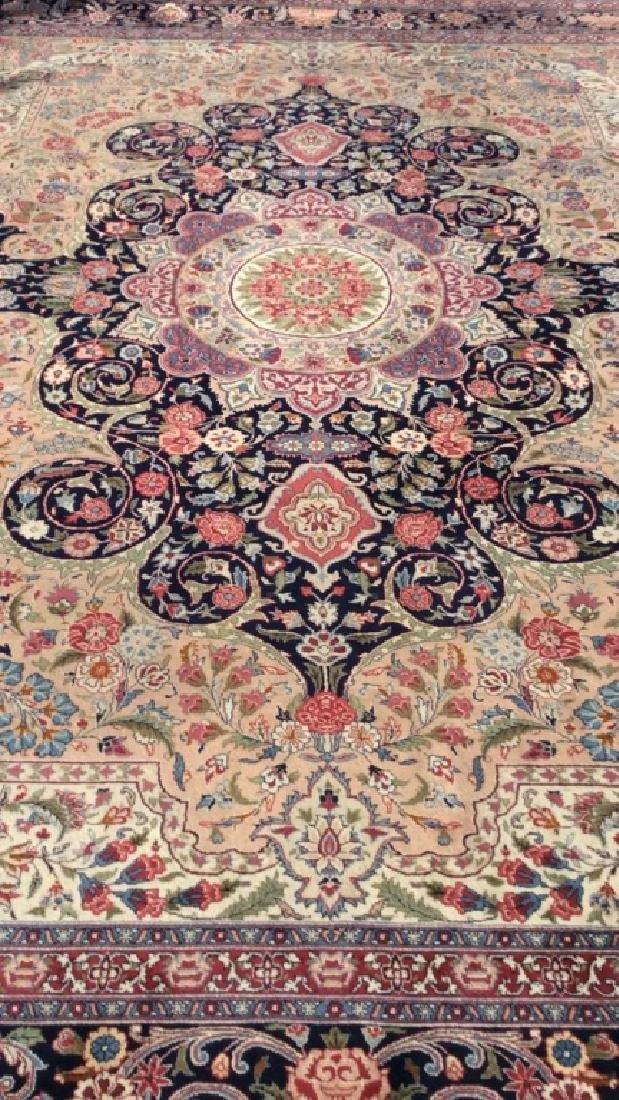 Handmade Intricately Detailed Fringed Wool Rug - 2