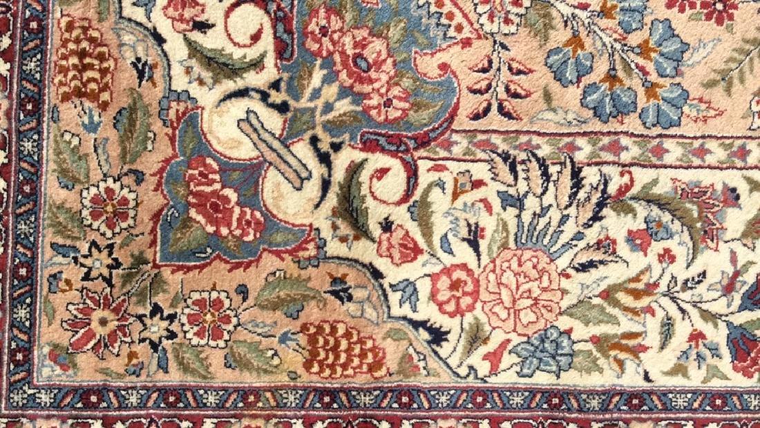 Handmade Intricately Detailed Fringed Wool Rug - 6