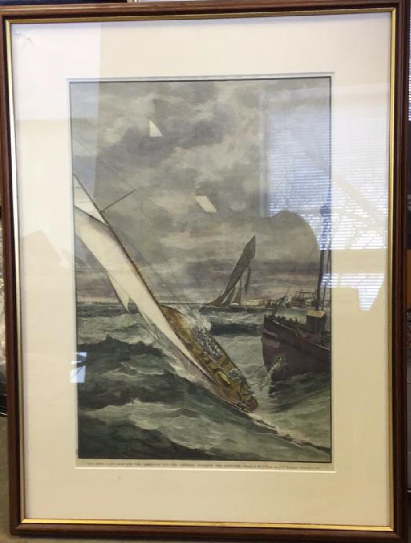 America's Cup Wood Engraving Hand Colored 1885